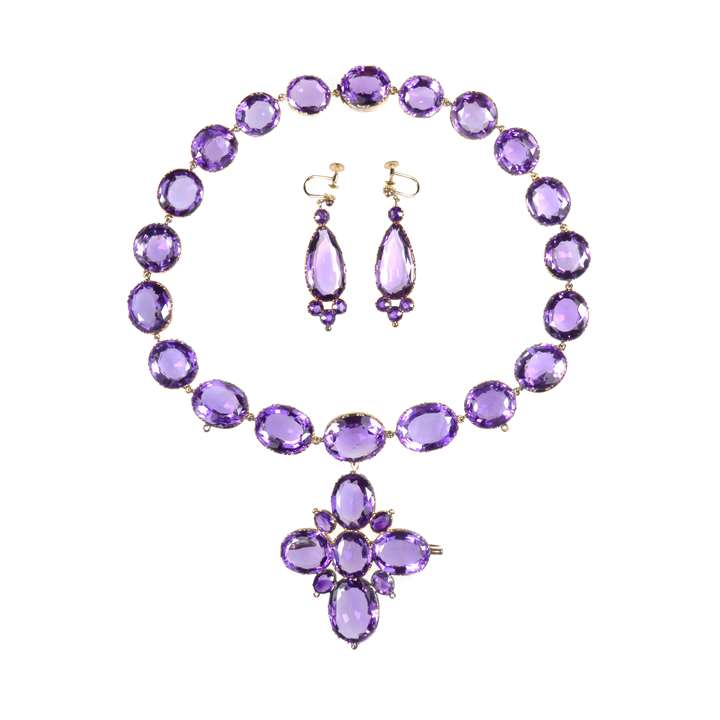 19th century amethyst collet cross pendant necklace and earrings en suite