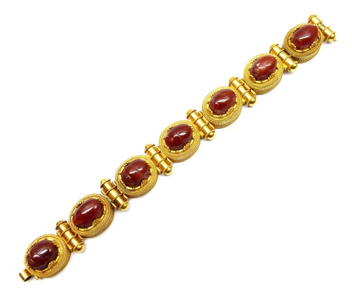 Archaeological revival gold and cornelian scarab bracelet | MasterArt
