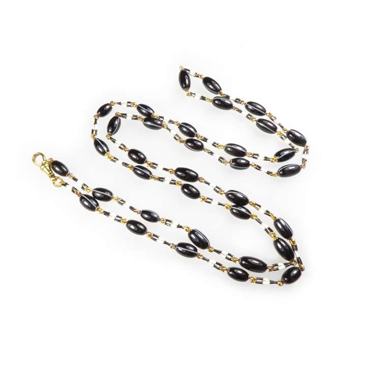 Banded black and white agate and enamel chain necklace