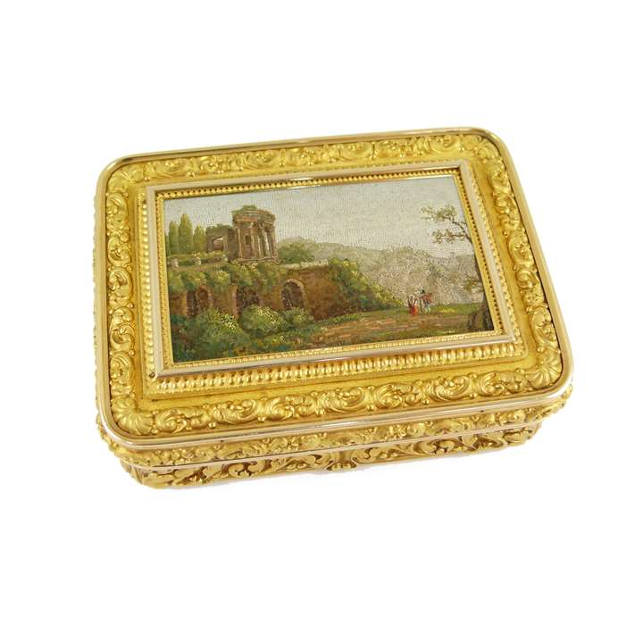 19th century chased rectangular gold box mounted with a micromosaic of the Temple of Vesta at Tivoli, the box