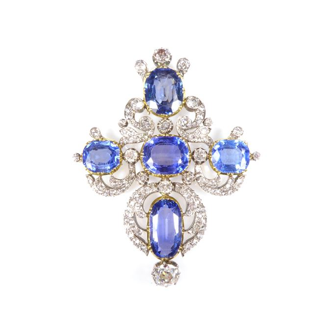 19th century cushion cut sapphire and diamond cluster cross pendant, with five principal Ceylon sapphires in a cross formation | MasterArt