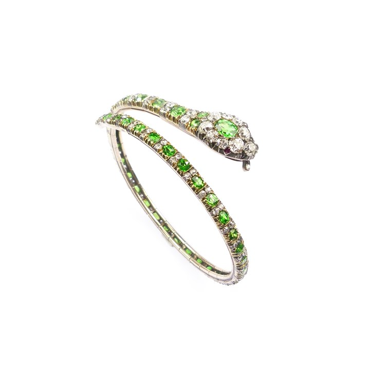 19th century demantoid garnet and diamond snake bangle