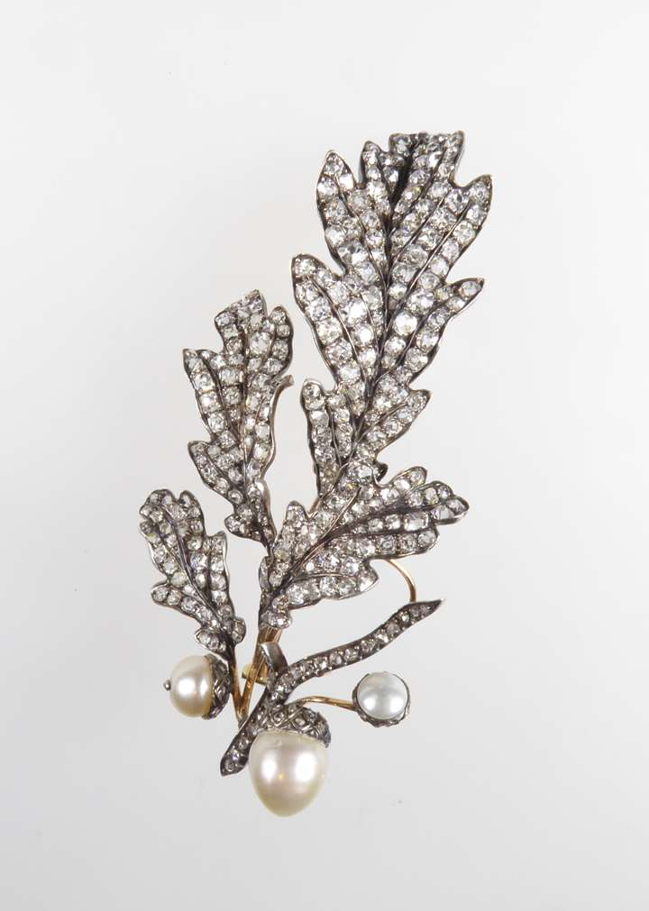 19th century diamond and pearl oak leaf and acorn spray brooch