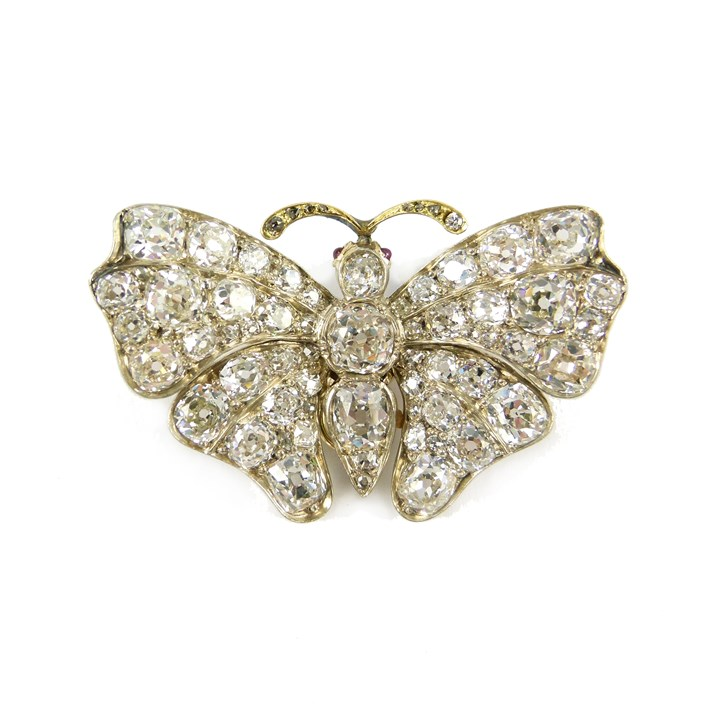 19th century diamond butterfly brooch