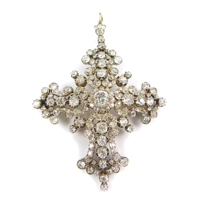 19th century diamond cluster cross brooch-pendant