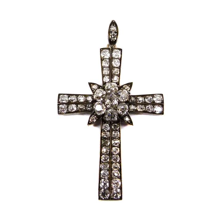 19th century diamond cross pendant