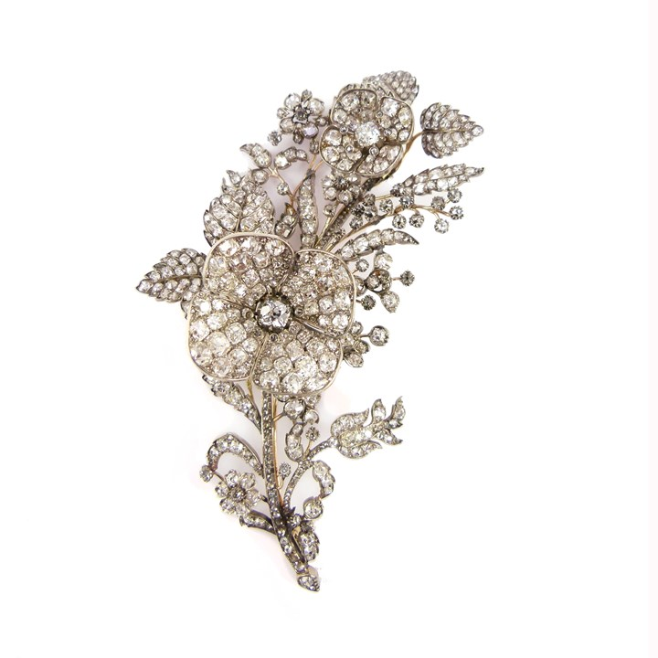 19th century diamond floral and foliate tremblant spray brooch, probably by R & S Garrard & Co., converting to hair piece