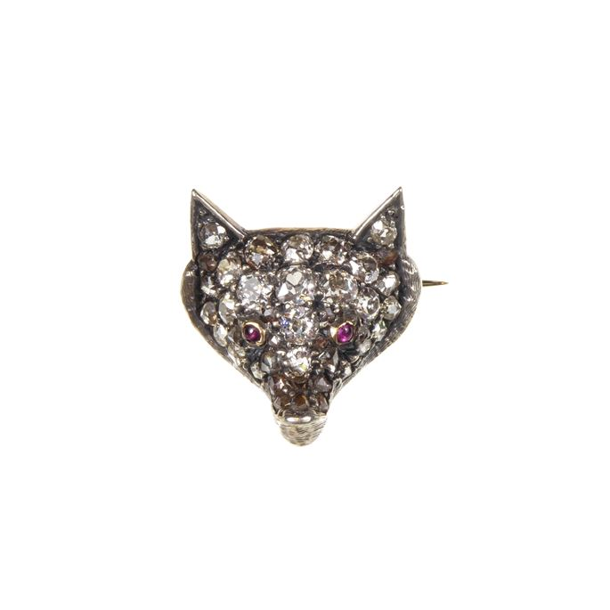 19th century diamond set fox head brooch | MasterArt