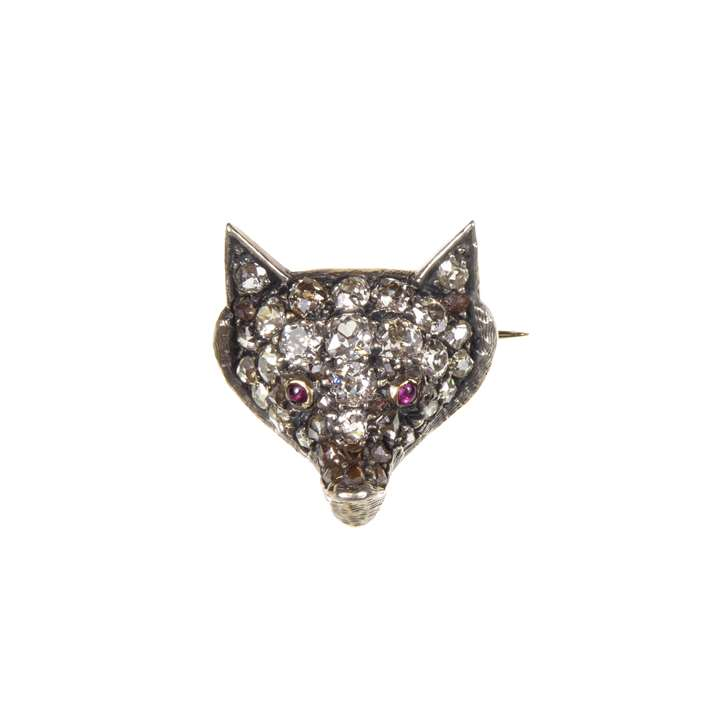 19th century diamond set fox head brooch
