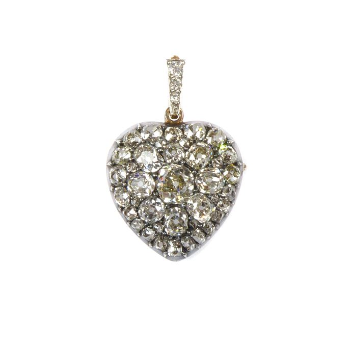 19th century diamond set heart pendant locket | MasterArt