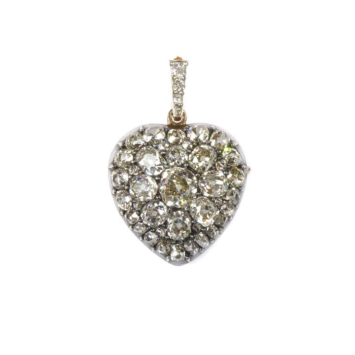19th century diamond set heart pendant locket