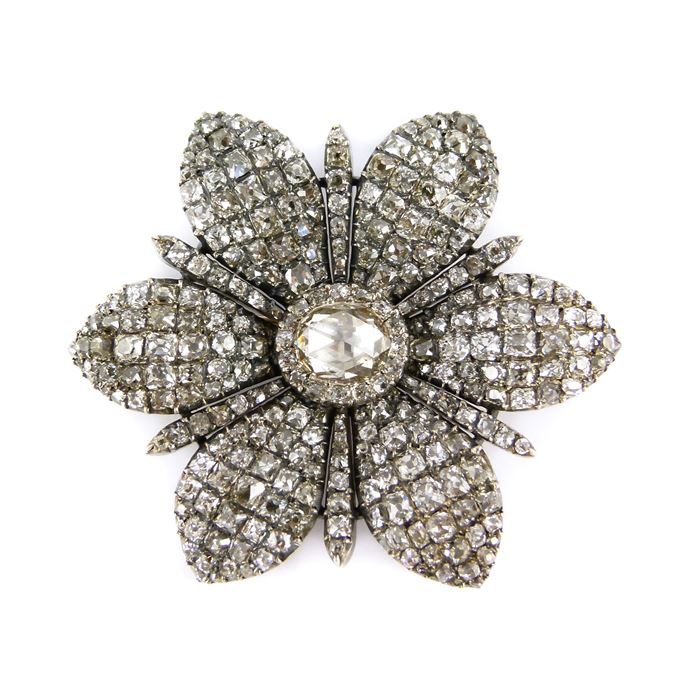 18th century diamond six petal flowerhead brooch | MasterArt