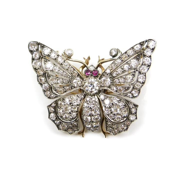 19th century diamond tremblant butterfly brooch | MasterArt