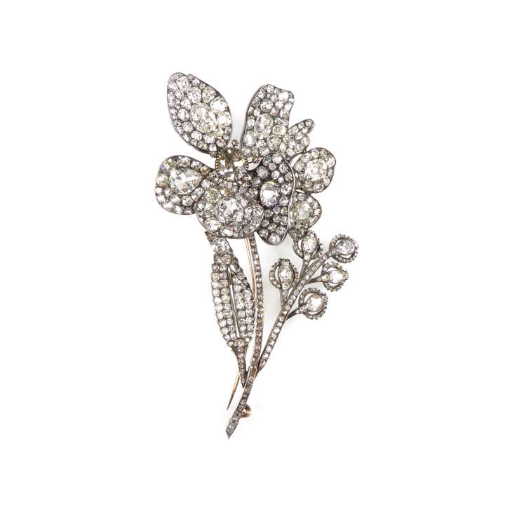 19th century diamond tremblant flower spray brooch