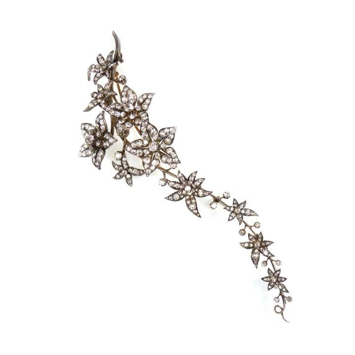 Diamond tremblant hanging spray of flowers brooch
