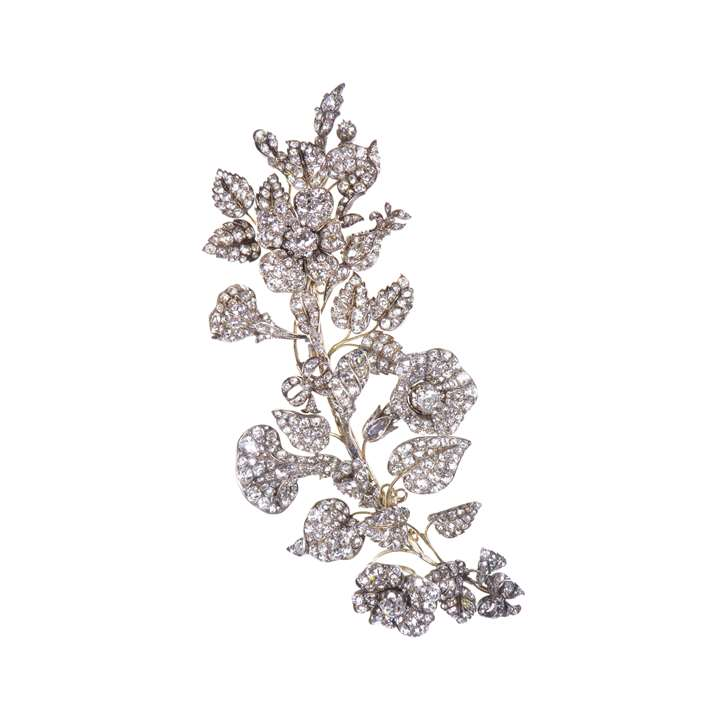 19th century diamond tremblant spray brooch, naturalistically modelled with small flowerheads, buds and leaves