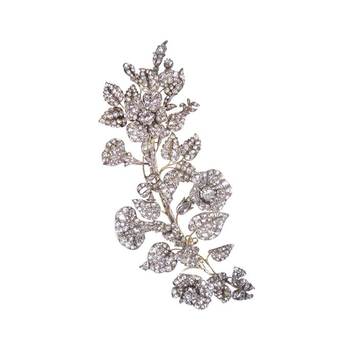 19th century diamond tremblant spray brooch | MasterArt