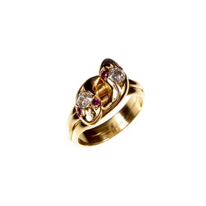 Diamond, ruby and gold double snake's head ring