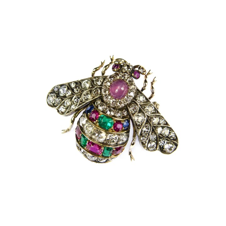 19th century diamond, ruby, emerald and sapphire bee brooch
