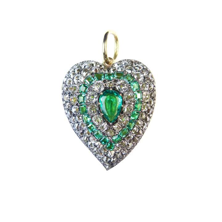 19th century emerald and diamond cluster heart pendant