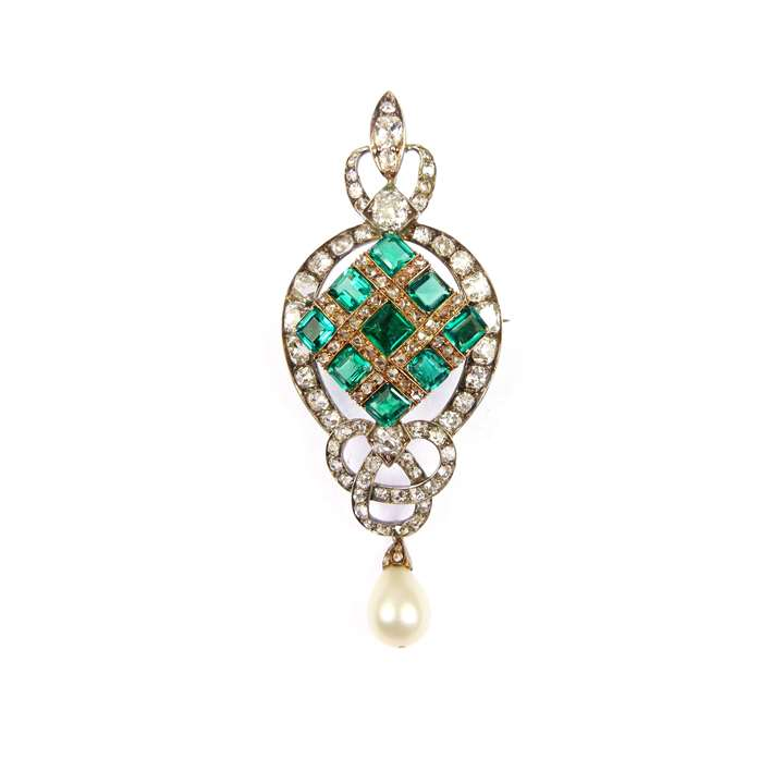 19th century emerald, diamond and pearl pendant-brooch