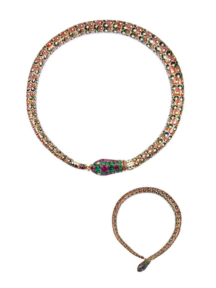 Emerald, ruby, enamel and gold articulated snake necklace