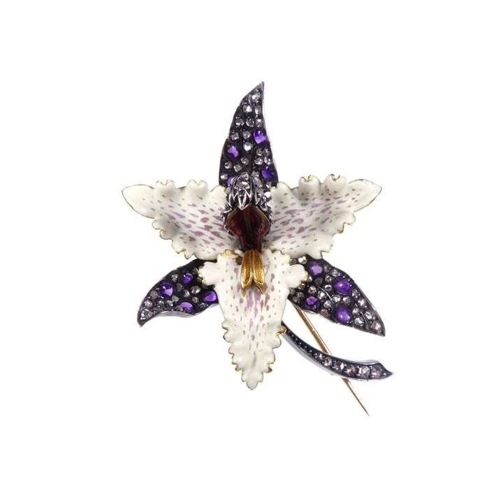 Enamel, diamond and cabochon amethyst orchid flower brooch