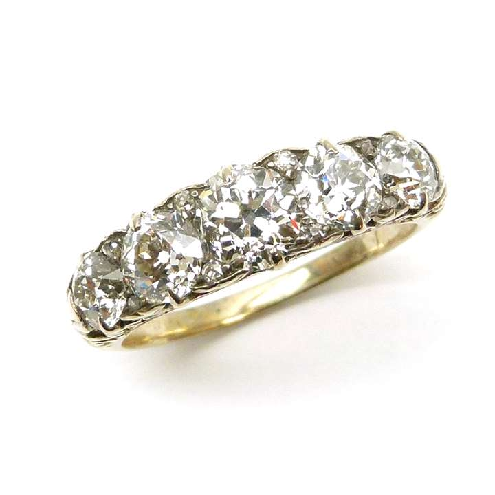 19th century five stone diamond ring