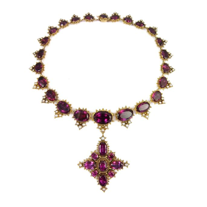19th century foiled amethyst and pearl cluster necklace and cross brooch-pendant | MasterArt