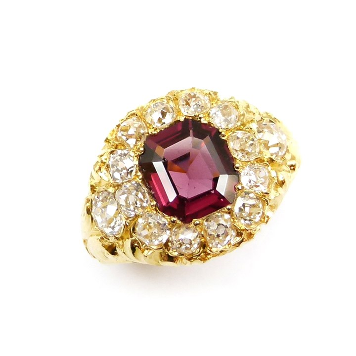 19th century garnet and diamond cluster ring