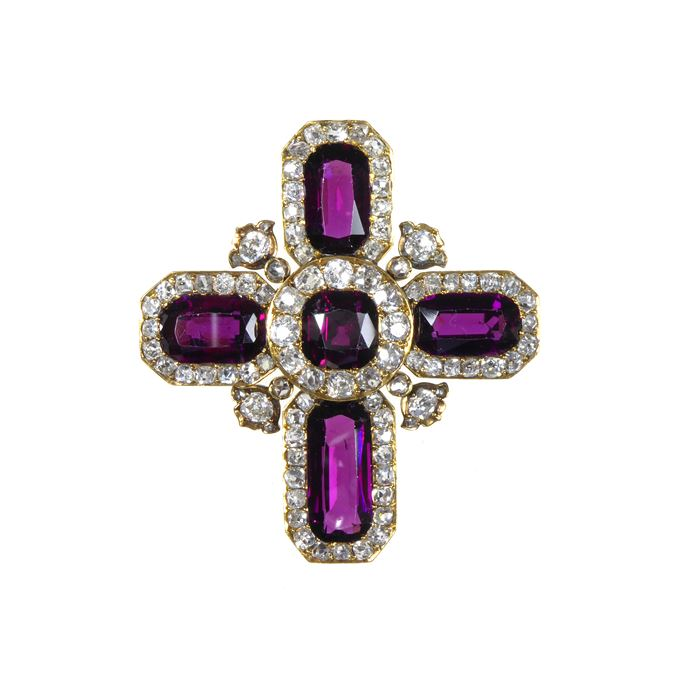 Antique garnet and diamond cross | MasterArt
