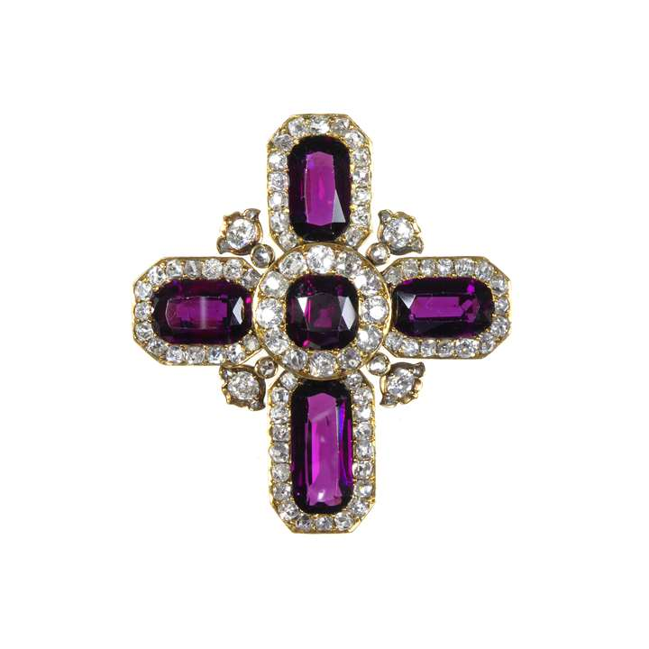 Antique garnet and diamond cross