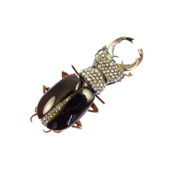 19th century garnet and diamond stag beetle brooch | MasterArt