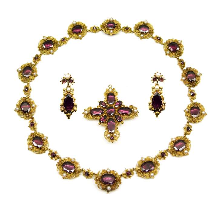 19th century garnet, seed pearl and gold cannetille set of necklace, cross pendant-brooch and pair of earrings