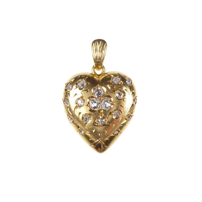 19th century gold and diamond heart locket pendant | MasterArt