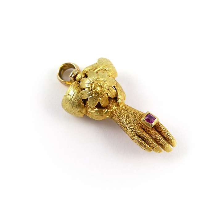 19th century gold and gem set hand clasp, with fittings for a single row necklace