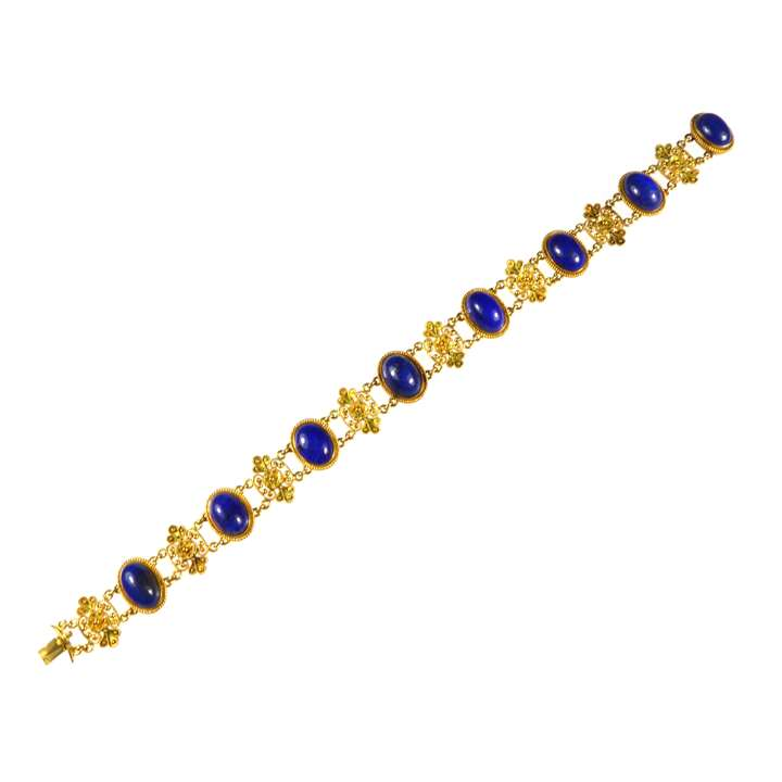 19th century gold and lapis lazuli bracelet