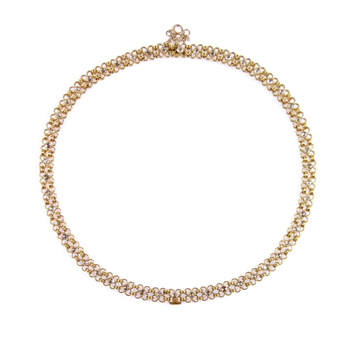 19th century gold chain and rose cut diamond collar necklace