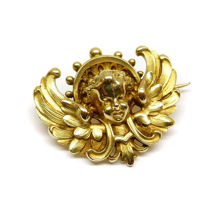 19th century gold cherub brooch