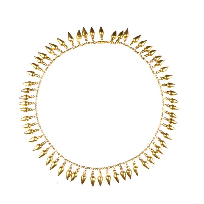 Gold classical revival fringe necklace, with stylised amphorae shaped droplets | MasterArt