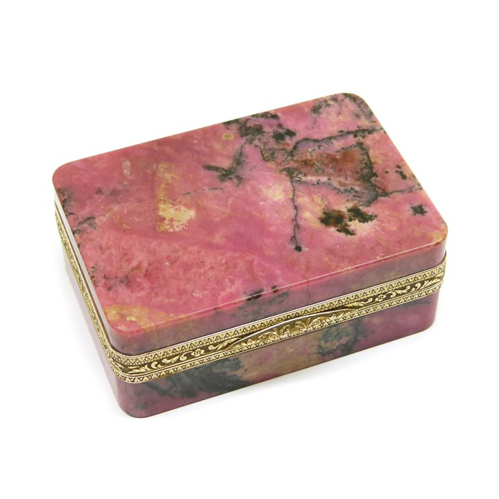 19th century gold mounted rectangular rhodonite box, possibly Austrian