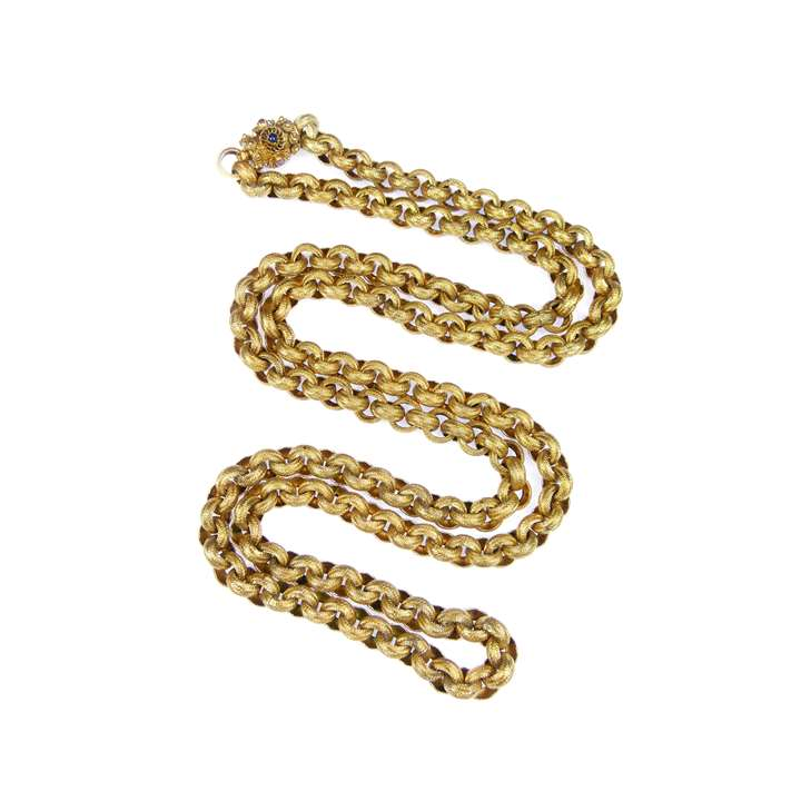 19th century gold muff chain on a gem set barrel clasp