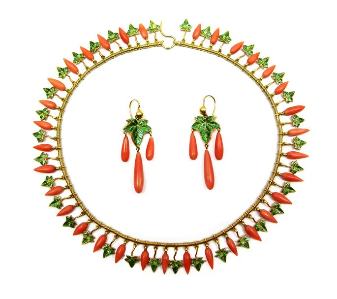 Robert Phillips of Cockspur Street - Gold, corallium rubrum and enamel fringe necklace and pair of earrings en suite | MasterArt