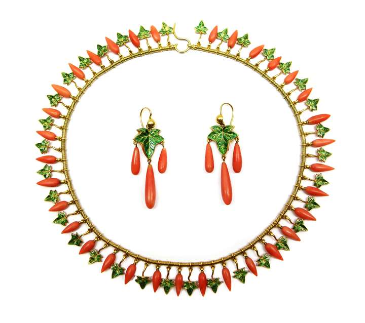 Gold, corallium rubrum and enamel fringe necklace and pair of earrings en suite