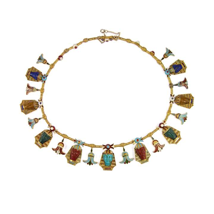 19th century gold, enamel and carved hardstone Egyptian revival fringe necklace