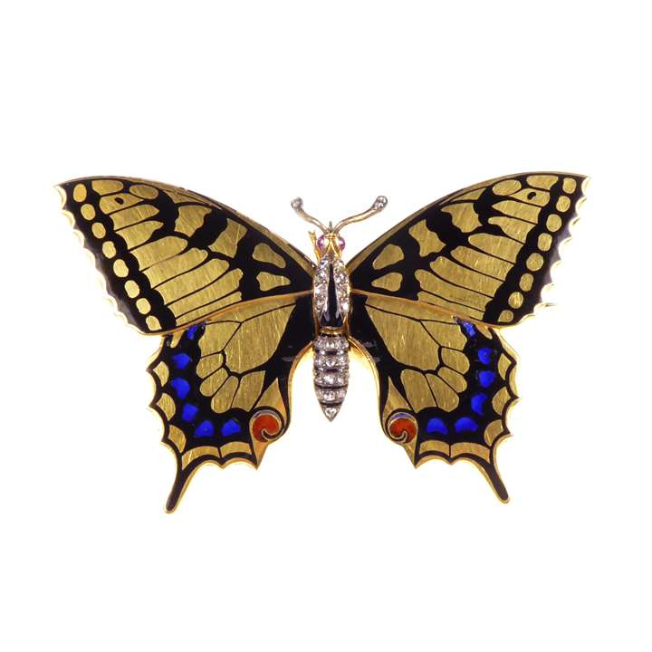 Gold, enamel and diamond butterfly locket-brooch