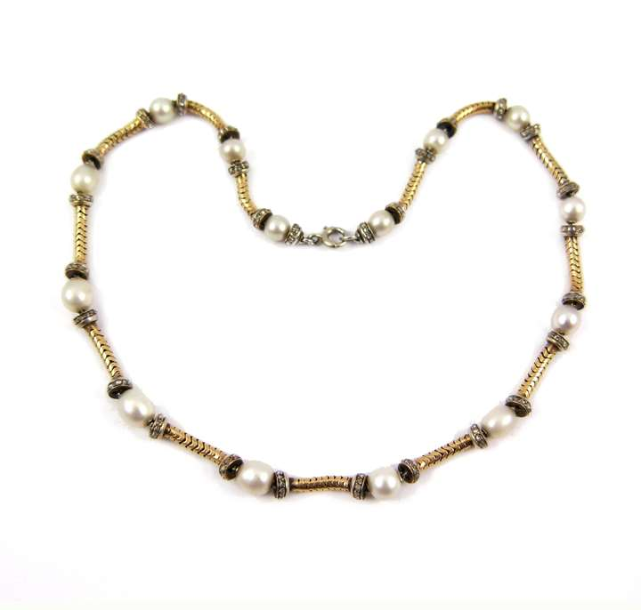 19th century gold, pearl and diamond collar necklace