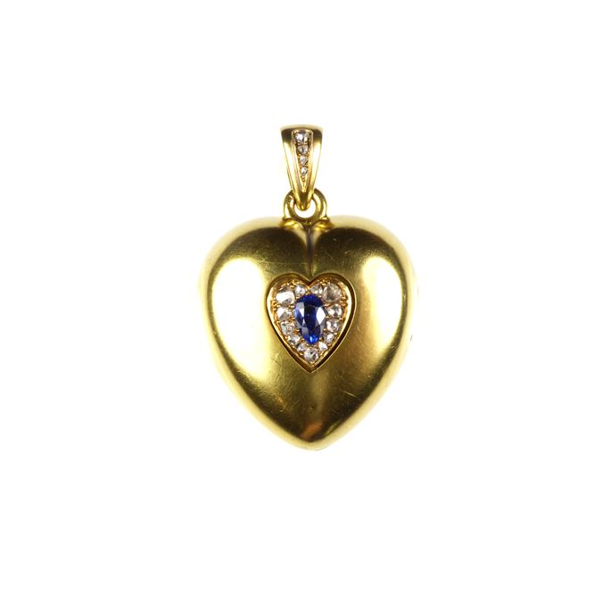 19th century gold, sapphire and diamond heart pendant locket | MasterArt