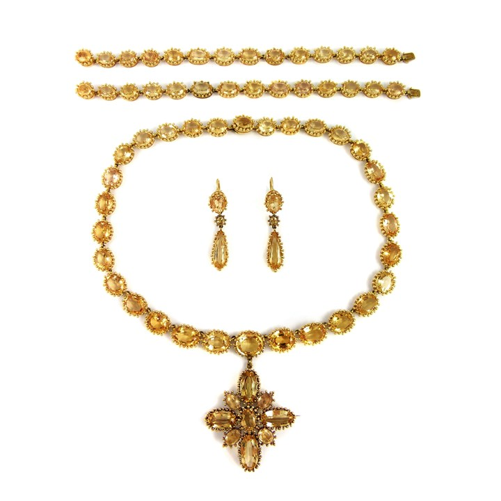 19th century golden topaz and beaded gold parure
