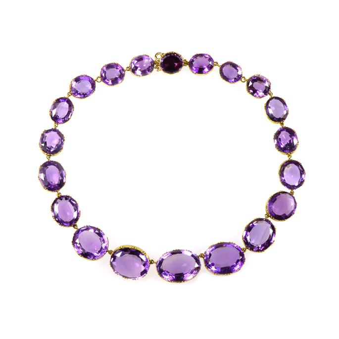 19th century graduated amethyst collet necklace | MasterArt